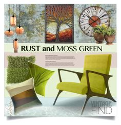 """""""Color Challenge: Moss Green and Rust"""" by lulunam ❤ liked on Polyvore featuring interior, interiors, interior design, home, home decor, interior decorating, Leftbank Art, Surya, Yorktown Road and ELK Lighting"""