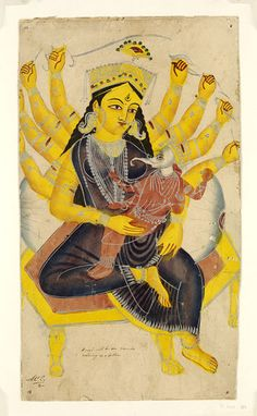 Painting, in water colour on paper, with tin alloy details, depicting Durga and Ganesha. Place of Origin Calcutta, India (made) Date ca. Ganesha Drawing, Ganesha Painting, Mughal Paintings, Indian Paintings, Calcutta, Watercolor Paintings Abstract, Durga Goddess, Hindu Art, Native Art
