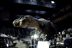 T. Rex animatronic on set of Jurassic Park