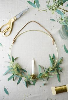 DIY Swedish Inspired Brass Ring And Candle Wreath