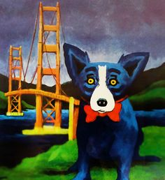 Golden Gate 1999 by Blue Dog George Rodrigue - Serigraph on Paper