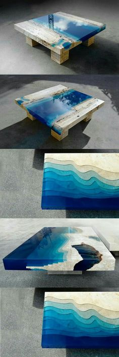 Outstanding vivid color table.  Unknown composite / stone?  Drop dead stunning!  #HomeDecor #CoffeeTable #Showpiece