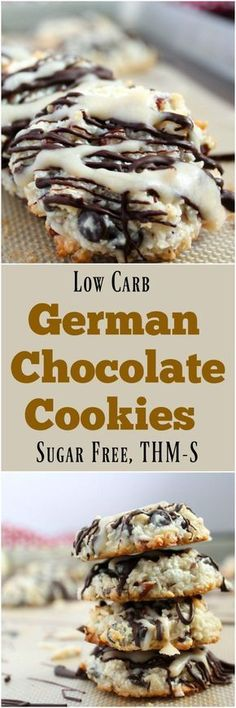 Keto German Chocolate Cookies (Low Carb, Sugar Free, THM-S) These german style cookies are gluten-free and contain no wheat flours or sugars. Low Carb Cookies, Sugar Free Cookies, Sugar Free Desserts, Sugar Free Recipes, Low Carb Recipes, Dessert Recipes, Diabetic Desserts Sugar Free Low Carb, Diabetic Cookie Recipes, Baking Cookies
