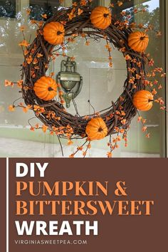 DIY Pumpkin & Bittersweet Wreath - Learn how to make a pumpkin & bittersweet wreath by following this step-by-step tutorial. #fallwreath #pumpkinwreath #bittersweetwreath via @spaula