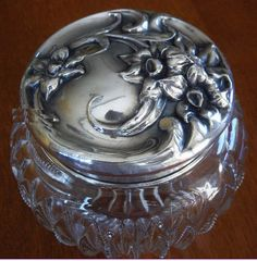 Art Nouveau Powder Box With Sterling Top
