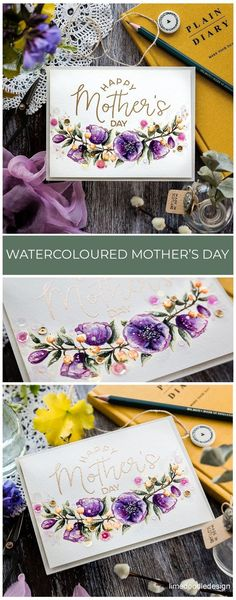 Watercoloured Mother's Day Card – Make Happy Your Mom Preschool Crafts, Crafts For Kids, Tim Holtz Distress Ink, Make Happy, I'm Happy, Doodle Designs, Watercolor Cards, Floral Watercolor, Mothers Day Crafts