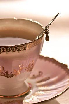 Soft pink and gold vintage teacup.