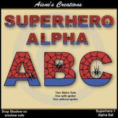 $Alpha & Numbers - Superhero 1 Clip Art Set