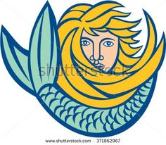 Illustration of a mermaid with flowing gold hair and tail curling in front on isolated white background done in retro style.  - stock vector #mermaid #retro #illustration
