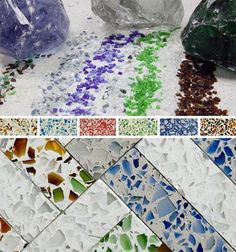 absolutely in love with this recycled glass countertop idea-- could be used for tabletops too