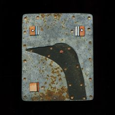 "Judith Hoyt: Cormorant (Brooch in found metals, copper, and stainless steel. 2.5 x 2"")"