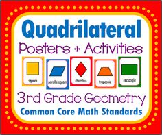 Quadrilaterals and Parallelograms, printable posters and activity pack, including quizzes! 23 page file. Common Core math standards. 3rd grade geometry.