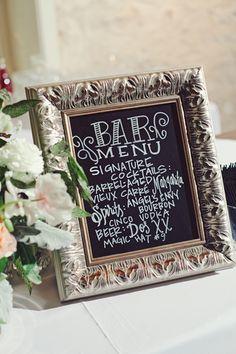 chalkboard bar menu   The Nichols #wedding