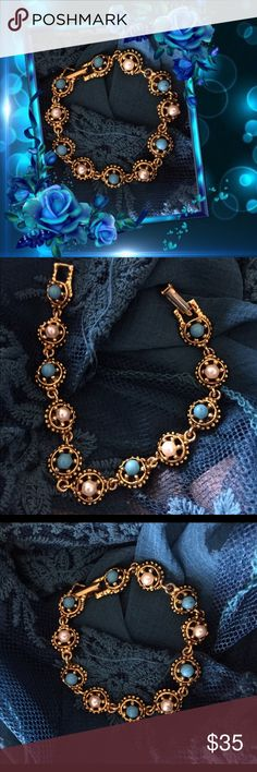 "💯VINTAGE GOLDETTE BRACELET (offers welcome) Stunning 7"" bracelet with turquoise and pearls (faux but authentic in appearance) prong set in gold tone. Goldette NYC made unique and original designs. You'll love this as much as I do! Any questions please ask! Bundle for additional savings! Marian 🌹 Vintage Jewelry Bracelets"