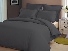 CONGO LINEN 810 TC Italian Finish Egyptian cotton Luxurious Duvet Cover 810 TC Solid ( Queen , Elephant Grey )