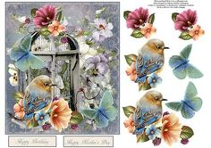 Aura Spring Birdcage Topper with Decoupage on Craftsuprint - Add To Basket!