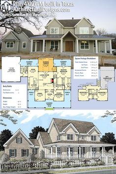 Architectural Designs House Plan 4122WM client-built in Texas. 3-4BR, 3BA, 2,200+ sq. ft. Ready when you are. Where do YOU want to build? #4122WM #adhouseplans #architecturaldesigns #houseplan #architecture #newhome #newconstruction #newhouse #homedesign #dreamhome #dreamhouse #homeplan #architecture #architect #housegoals #Modernfarmhouse #Farmhousestyle #farmhouse