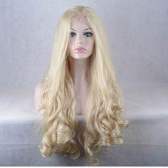 Peruca Front Lace de cabelo sintético alta qualidade longa Ondulado Cor  Loiro Médio //Price: $441.99 & FREE Shipping