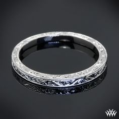 Handmade wedding band, This delicately detailed Custom Hand Engraved Wedding Ring is set in platinum and features a full eternity pattern. I love this band!!!!!!!!!!