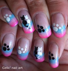 Gelic' nail art: Cats in love funky french nail art