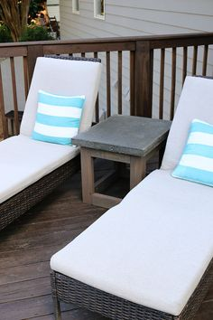 Concrete & Wood Outdoor Side Table