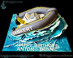 Boat cake - Cake by BunnyBlossom showing a rubberduck boat on a giant ocean wave all made of cake