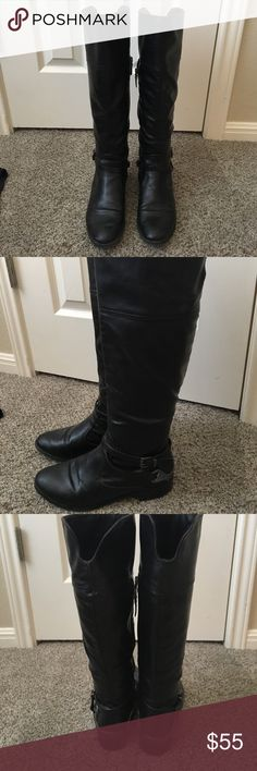 Tall, black boots!!!! tall, black boots good to wear in the fall. cute to wear with jeans, leggings, and longer shirt!!! Not very worn shown in the pictures!! Size 7. They stop right at the knee Merona Shoes Over the Knee Boots