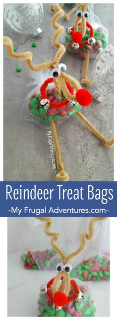 Simple and adorable little reindeer treat bags.  So fun for class parties- just fill with a treat of your choice.