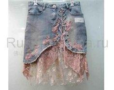 Джинсовая юбка из джинс с кружевом
