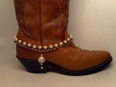 Boot Bracelet. Vintage large capped pearl charm by McIversRevivers, $25.00