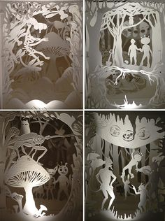 """The Day We Changed Our Lives Forever"" by Andrea Dezsö, 2005. Hand-cut and sewn paper, tunnel books with superbrite LED lights."
