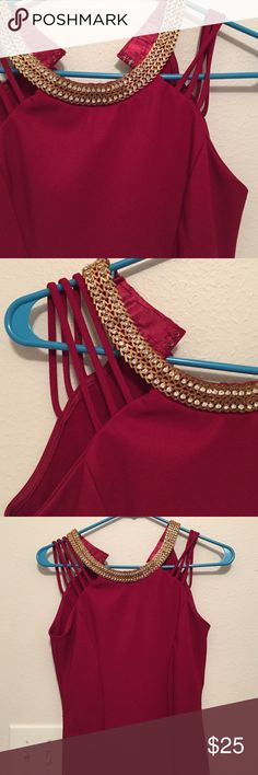 Fitted Dark red dress dark red dress with jeweled neckline. fitted and worn once in great condition Dresses Mini