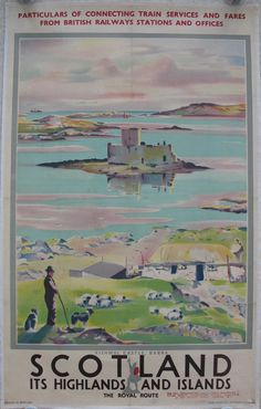 Kishmul Castle, Barra - Scotland - It's Highlands and Islands - The Royal Route. (Incorrect spelling on poster - it should be Kisimul), by Tom Gilfillan. A peaceful and timeless scene of a crofter with his sheepdog and sheep, overlooking the tiny island and its medieval castle just off the coast of Barra. Original Vintage Railway Poster available on originalrailwayposters.co.uk