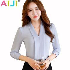 ad0abff9c7a2b Fashion Women Long Sleeve V Neck Shirt Ol Slim Elegant Business Formal  Chiffon Blouse Office Ladies Plus Size Work Wear Tops