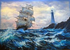 anthony casay 1980 | Clipper Ship 1984 by Violet Parkhurst, Originalgemälde, Oil on Canvas