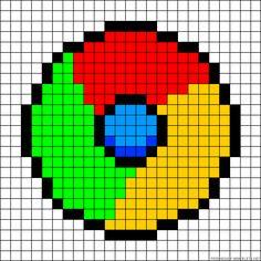 Google Chrome perler bead pattern Perler Bead Mario, Diy Perler Beads, Melty Bead Patterns, Beading Patterns, Pixel Pattern, Pattern Art, Cross Stitch Designs, Cross Stitch Patterns, Crochet Pixel