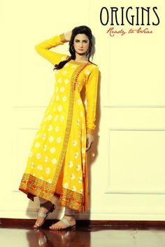 Pakistani couture, Yellow Salwar Kameez, Mehndi Dress, Bridal