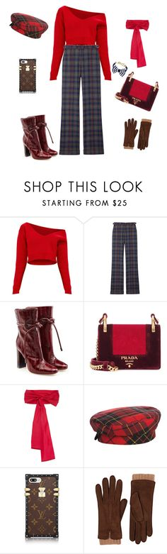 """""""""""Once you can accept the universe as matter expanding into nothing  that is something, wearing stripes with plaid comes easy."""" -Albert Einstein"""" by violetluvli0987 ❤ liked on Polyvore featuring Gabriela Hearst, Malone Souliers, Prada, Sara Roka, Eric Javits, Barneys New York, Brooks Brothers and vintage"""