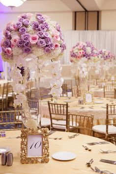 Lavender and pink centerpiece