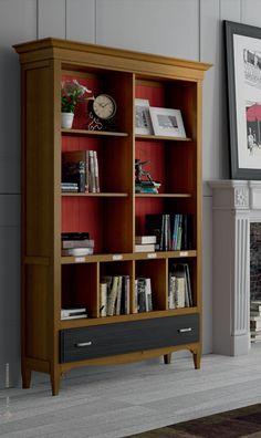 Bonita estanteria libreria en madera maciza y color cerezo, se compone de 4 huecos y 2 cajón, los colores están muy acertados, combina 3 colores, cerezo, rojo en trasera y gris en cajón, visita nuestra web: http://www.rusticocolonial.es