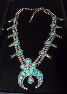 Old Pawn Navajo Turquoise Squash Blossom Necklace, Sterling Silver, Unmarked?