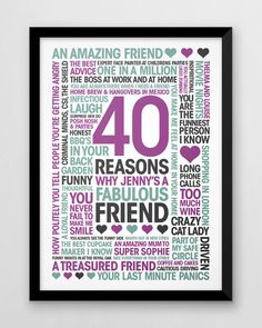 Birthday Print friends 40 Reasons best friend by YoungidArt for best friends box Personalised 40 reasons for friend, birthday print, custom friend's fortieth Birthday Gifts For Best Friend, Mom Birthday Gift, Friend Birthday, Best Friend Gifts, Birthday Ideas, Birthday Wishes, 40th Birthday Gifts For Women, Birthday Box, Birthday Messages