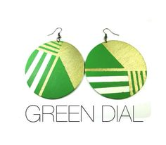 Green Dial Earrings in Green, Cream, and Gold on Etsy, $24.00