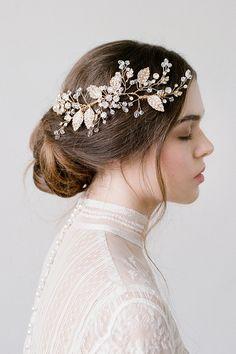 Demi Gold Bridal Leaf Hair Comb Wedding Headpiece by BrideLaBoheme