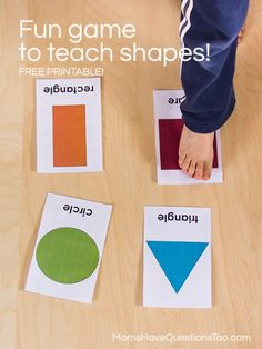 Like Twister! The Blue Circle- The red Triangle, etc: Find the Shape! A fun game for toddlers or preschoolers that helps them learn shapes - also includes gross motor practice. Preschool Classroom, Preschool Learning, In Kindergarten, Fun Learning, Preschool Activities, Preschool Shapes, Shape Activities, Family Activities, Toddler Learning