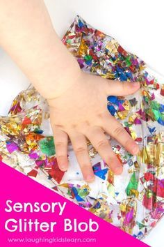Simple sensory bag using glitter and baby oil. Could also be considered a blob of water and lots of fun for kids to play with under supervision - Laughing Kids Learn