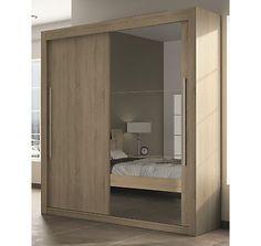 Armoire 1 porte bois, 1 porte miroir hauteur 220 cm Deborah