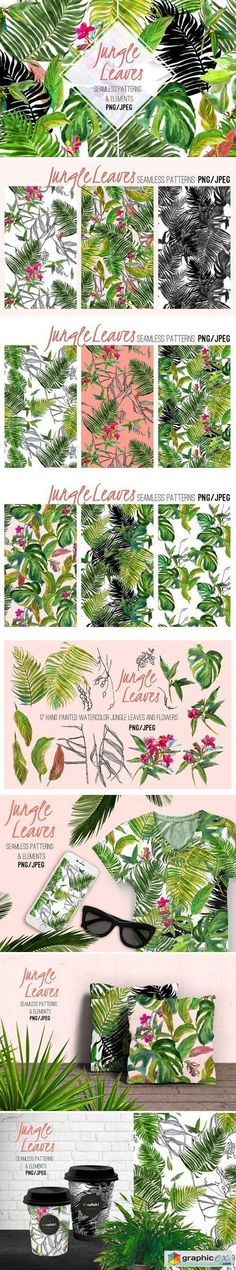 Jungle Leaves. Watercolor Set  stock images