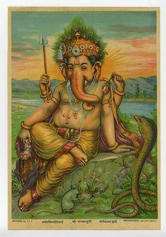 Framed Zari Oleograph - Ganesha By Raja Ravi Varma Jai Ganesh, Ganesha Art, Lord Ganesha, Lord Krishna, Ganesha Story, Om Gam Ganapataye Namaha, Raja Ravi Varma, Ganesh Images, Krishna Images