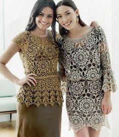 Crochet shirt or top and a crochet dress (I love that crochet top!) Crochetemoda: Vestido e Blusa de Crochet